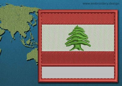 This Flag of Lebanon Customizable Text  with a Colour Coded border design was digitized and embroidered by www.embroidery.design.