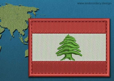 This Flag of Lebanon Rectangle with a Colour Coded border design was digitized and embroidered by www.embroidery.design.