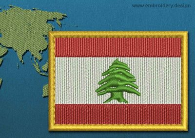 This Flag of Lebanon Rectangle with a Gold border design was digitized and embroidered by www.embroidery.design.