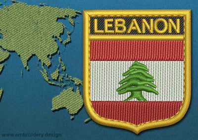 This Flag of Lebanon Shield with a Gold border design was digitized and embroidered by www.embroidery.design.