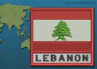 This Flag of Lebanon Text with a Colour Coded border design was digitized and embroidered by www.embroidery.design.