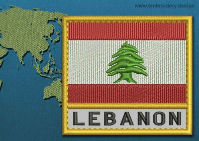 This Flag of Lebanon Text with a Gold border design was digitized and embroidered by www.embroidery.design.