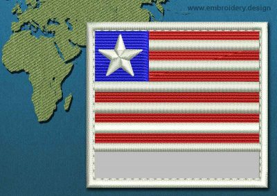This Flag of Liberia Customizable Text  with a Colour Coded border design was digitized and embroidered by www.embroidery.design.