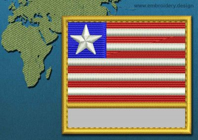 This Flag of Liberia Customizable Text  with a Gold border design was digitized and embroidered by www.embroidery.design.