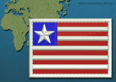 This Flag of Liberia Rectangle with a Colour Coded border design was digitized and embroidered by www.embroidery.design.