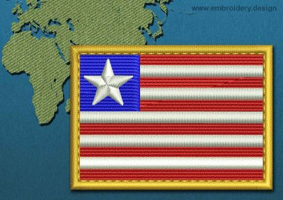 This Flag of Liberia Rectangle with a Gold border design was digitized and embroidered by www.embroidery.design.