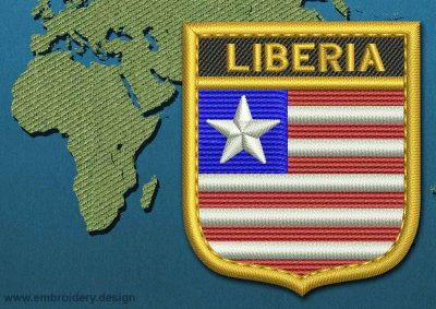 This Flag of Liberia Shield with a Gold border design was digitized and embroidered by www.embroidery.design.