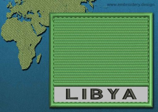 This Flag of Libya Text with a Colour Coded border design was digitized and embroidered by www.embroidery.design.