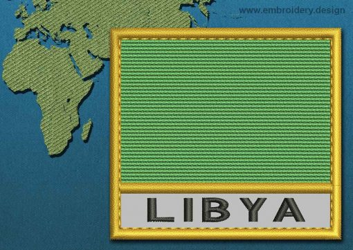 This Flag of Libya Text with a Gold border design was digitized and embroidered by www.embroidery.design.