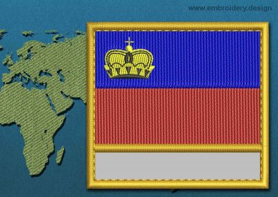 This Flag of Liechtenstein Customizable Text  with a Gold border design was digitized and embroidered by www.embroidery.design.