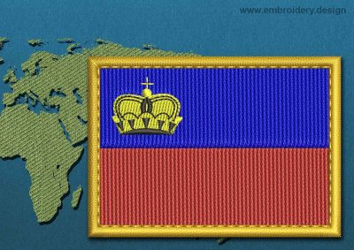 This Flag of Liechtenstein Rectangle with a Gold border design was digitized and embroidered by www.embroidery.design.