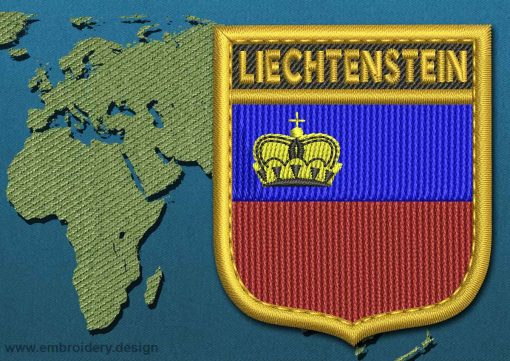 This Flag of Liechtenstein Shield with a Gold border design was digitized and embroidered by www.embroidery.design.