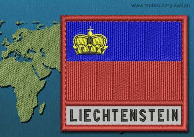This Flag of Liechtenstein Text with a Colour Coded border design was digitized and embroidered by www.embroidery.design.