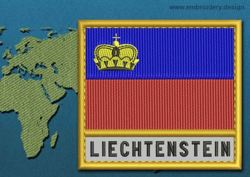 This Flag of Liechtenstein Text with a Gold border design was digitized and embroidered by www.embroidery.design.