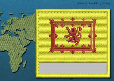 This Flag of Lion Rampant Customizable Text  with a Colour Coded border design was digitized and embroidered by www.embroidery.design.