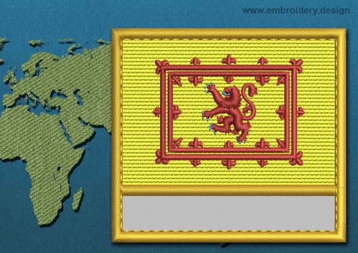 This Flag of Lion Rampant Customizable Text  with a Gold border design was digitized and embroidered by www.embroidery.design.