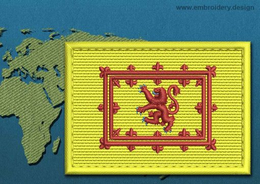 This Flag of Lion Rampant Rectangle with a Colour Coded border design was digitized and embroidered by www.embroidery.design.