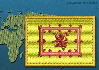 This Flag of Lion Rampant Rectangle with a Gold border design was digitized and embroidered by www.embroidery.design.