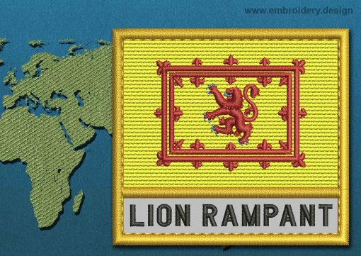 This Flag of Lion Rampant Text with a Gold border design was digitized and embroidered by www.embroidery.design.