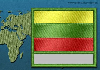 This Flag of Lithuania  Customizable Text  with a Colour Coded border design was digitized and embroidered by www.embroidery.design.