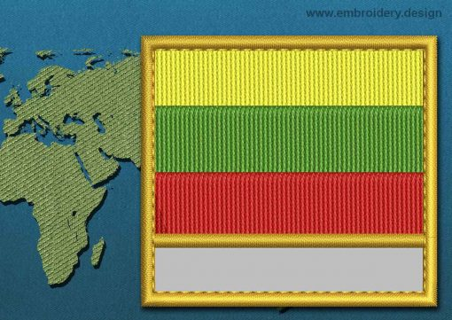 This Flag of Lithuania  Customizable Text  with a Gold border design was digitized and embroidered by www.embroidery.design.