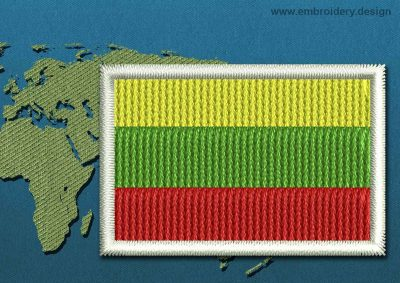 This Flag of Lithuania Mini with a Colour Coded border design was digitized and embroidered by www.embroidery.design.