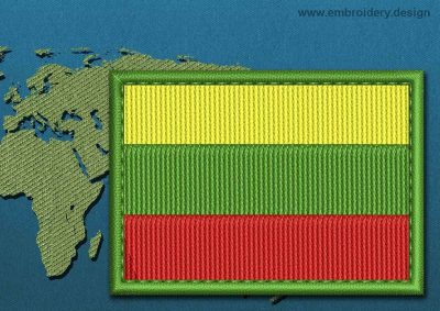 This Flag of Lithuania  Rectangle with a Colour Coded border design was digitized and embroidered by www.embroidery.design.