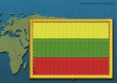 This Flag of Lithuania  Rectangle with a Gold border design was digitized and embroidered by www.embroidery.design.