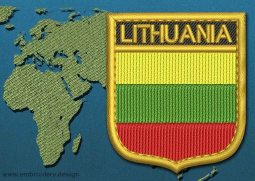 This Flag of Lithuania  Shield with a Gold border design was digitized and embroidered by www.embroidery.design.