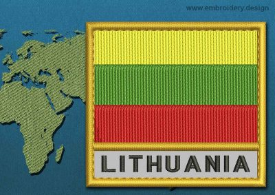 This Flag of Lithuania  Text with a Gold border design was digitized and embroidered by www.embroidery.design.
