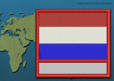 This Flag of Luxembourg Customizable Text  with a Colour Coded border design was digitized and embroidered by www.embroidery.design.