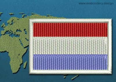 This Flag of Luxembourg Mini with a Colour Coded border design was digitized and embroidered by www.embroidery.design.