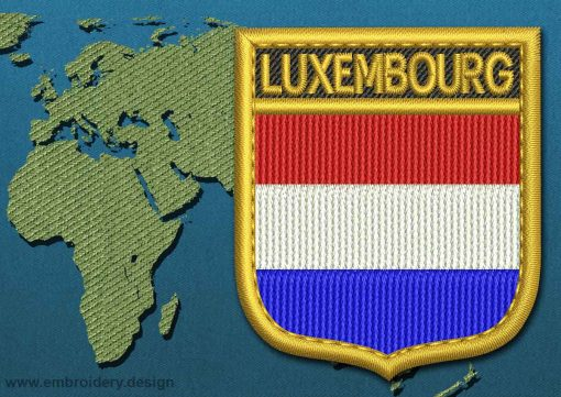 This Flag of Luxembourg Shield with a Gold border design was digitized and embroidered by www.embroidery.design.
