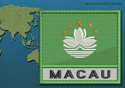 This Flag of Macau Text with a Colour Coded border design was digitized and embroidered by www.embroidery.design.
