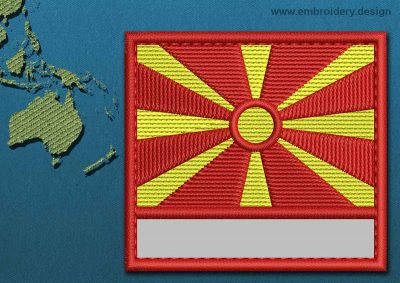 This Flag of Macedonia Customizable Text  with a Colour Coded border design was digitized and embroidered by www.embroidery.design.