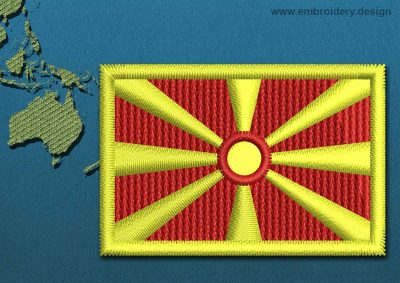 This Flag of Macedonia Mini with a Colour Coded border design was digitized and embroidered by www.embroidery.design.