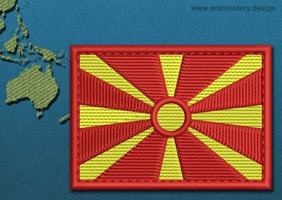 This Flag of Macedonia Rectangle with a Colour Coded border design was digitized and embroidered by www.embroidery.design.