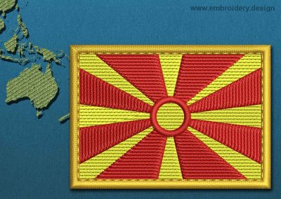 This Flag of Macedonia Rectangle with a Gold border design was digitized and embroidered by www.embroidery.design.