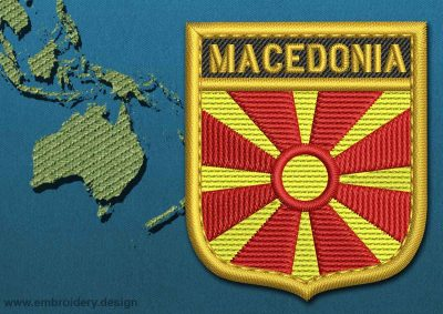 This Flag of Macedonia Shield with a Gold border design was digitized and embroidered by www.embroidery.design.