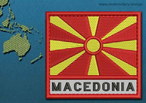 This Flag of Macedonia Text with a Colour Coded border design was digitized and embroidered by www.embroidery.design.