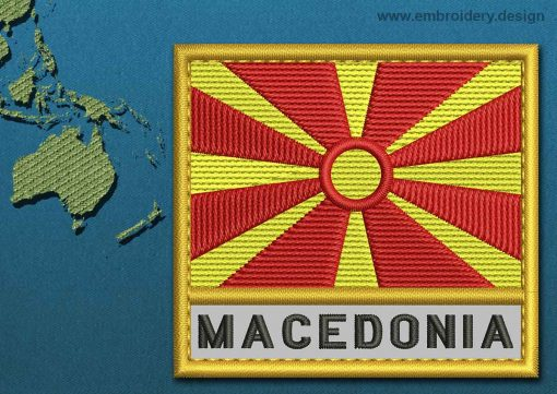 This Flag of Macedonia Text with a Gold border design was digitized and embroidered by www.embroidery.design.