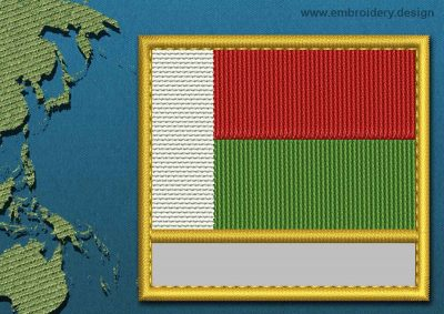 This Flag of Madagascar Customizable Text  with a Gold border design was digitized and embroidered by www.embroidery.design.