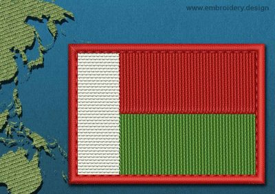 This Flag of Madagascar Rectangle with a Colour Coded border design was digitized and embroidered by www.embroidery.design.