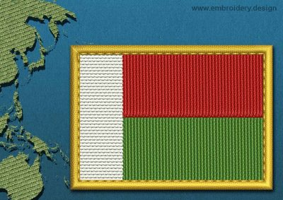 This Flag of Madagascar Rectangle with a Gold border design was digitized and embroidered by www.embroidery.design.