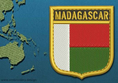 This Flag of Madagascar Shield with a Gold border design was digitized and embroidered by www.embroidery.design.