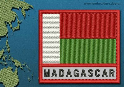 This Flag of Madagascar Text with a Colour Coded border design was digitized and embroidered by www.embroidery.design.