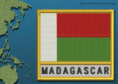 This Flag of Madagascar Text with a Gold border design was digitized and embroidered by www.embroidery.design.