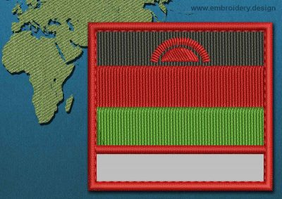 This Flag of Malawi Customizable Text  with a Colour Coded border design was digitized and embroidered by www.embroidery.design.