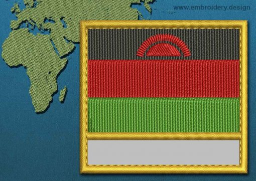 This Flag of Malawi Customizable Text  with a Gold border design was digitized and embroidered by www.embroidery.design.