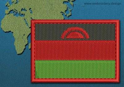 This Flag of Malawi Rectangle with a Colour Coded border design was digitized and embroidered by www.embroidery.design.